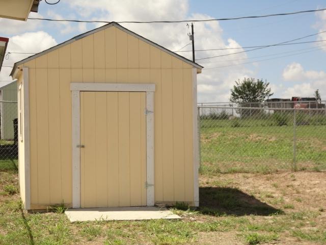 Storage shed in backyard